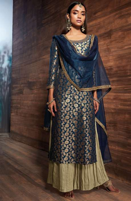 Designer Wedding Special Chanderi Jacquard Embellished Salwar Suit Sets In Blue and Brown - UTH6434-R