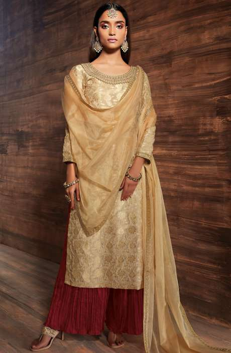 Designer Diwali Special Chanderi Jacquard Embellished Salwar Suit Sets In Beige and Maroon - UTH6438