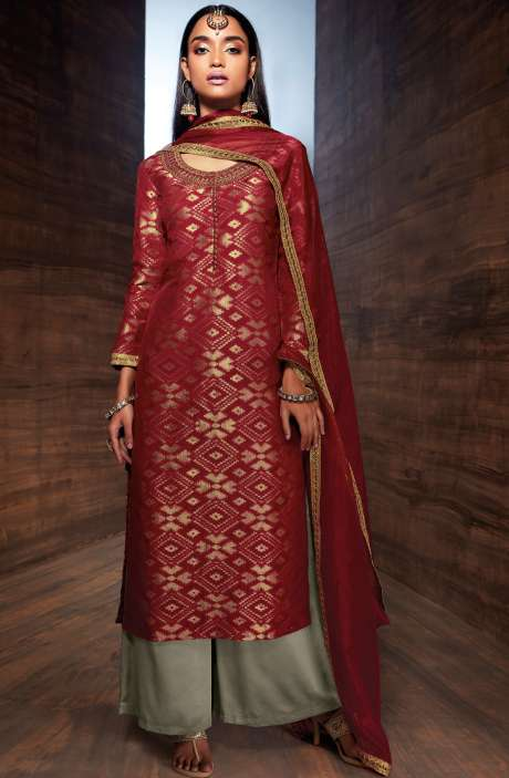 Designer Diwali Special Chanderi Jacquard Embellished Salwar Suit Sets In Maroon and Grey - UTH6439