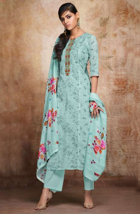 Kota Cotton Sea Green Floral Print with Embroidery Suit Sets - VAL6723