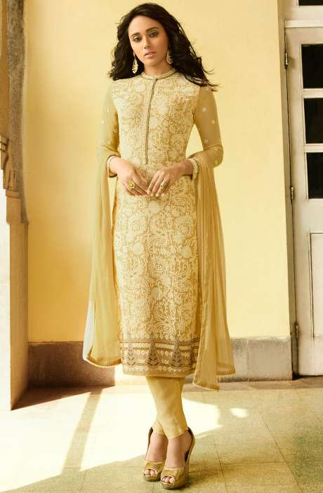 EID Special Embroidery with Swarovski and Zari Work Georgette Salwar Kameez In Pale Yellow - VAN221-R