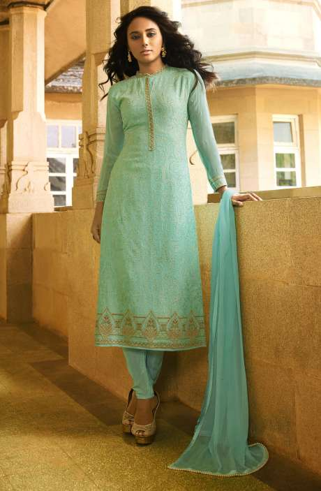 EID Special Embroidery with Swarovski and Zari Work Georgette Shalwar Kameez In Green - VAN222-R