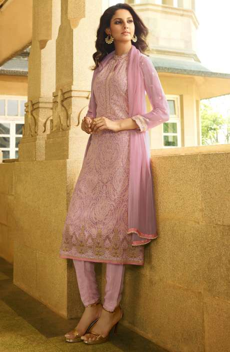 EID Special Embroidery with Swarovski and Zari Work Georgette Salwar Kameez In Pink - VAN223-R