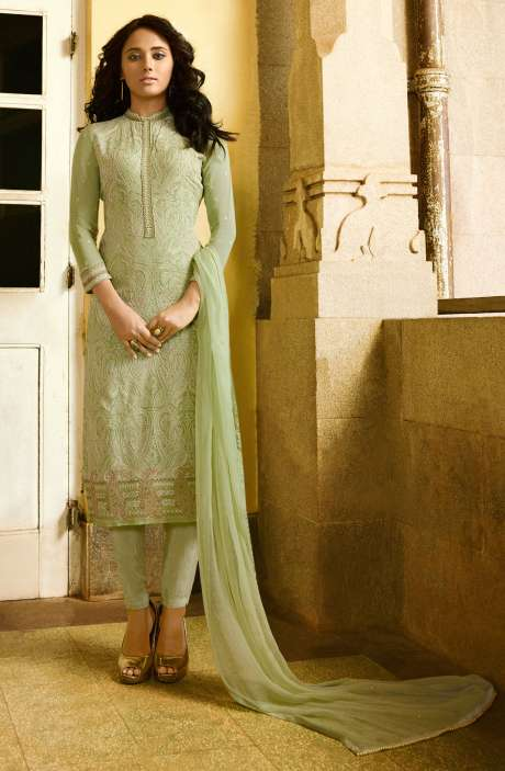 EID Special Embroidery with Swarovski and Zari Work Georgette Salwar Kameez In Pale Green - VAN224-R
