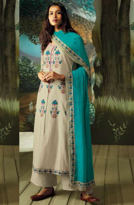 Digital Printed with Embroidery Salwar Kameez In Beige & Cream - VAN7710