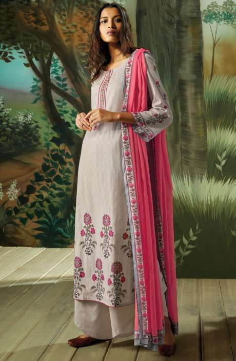 Digital Printed with Embroidery Salwar Kameez In Cream - VAN7711