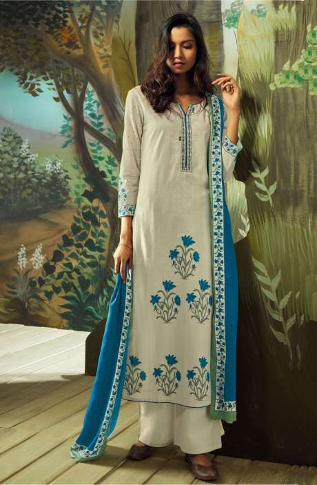 Digital Printed with Embroidery Salwar Suit In Cream - VAN7712