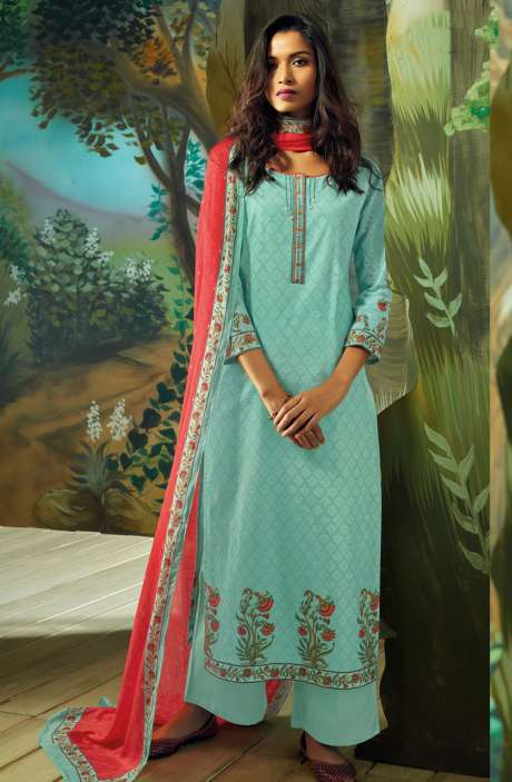 Digital Printed with Embroidery Salwar Kameez In Mint Green - VAN7714