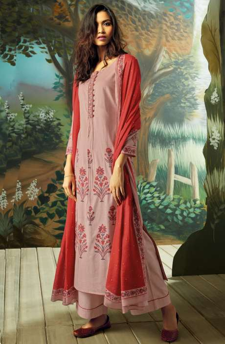 Digital Printed with Embroidery Salwar Kameez In Peach - VAN7715