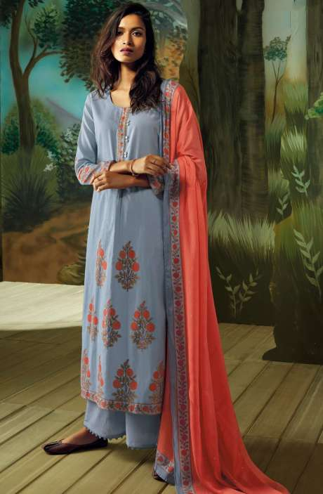 Digital Printed with Embroidery Salwar Kameez In Greyish Blue - VAN7716