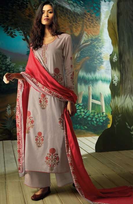 Digital Printed with Embroidery Salwar Kameez In Fawn - VAN7718
