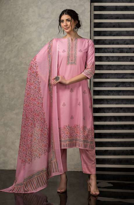 Cotton Digital Printed Salwar Kameez In Pink - VAR2222