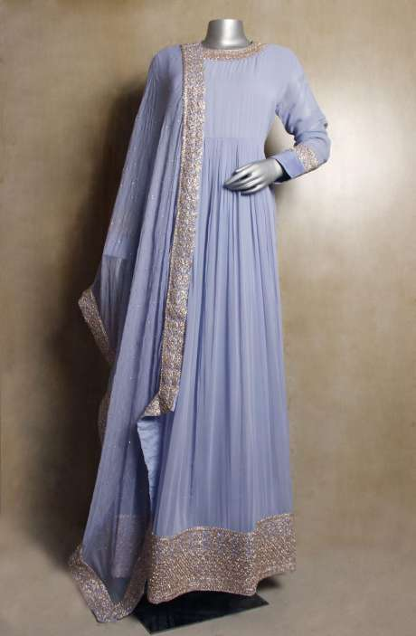 Readymade Georgette Partywear Light Blue Zari & Sequins Work Anarkali Gown with Chiffon - VAR9116A