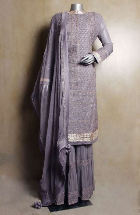 Designer Readymade Embellished Georgette Grey A-line Pakistani Kameez with Sharara & Dupatta - VAR9175A