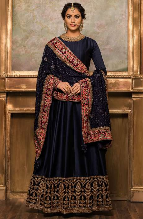 Wedding Collection Semi-Stitched Silk Blue Anarkali Gown - VAR9177