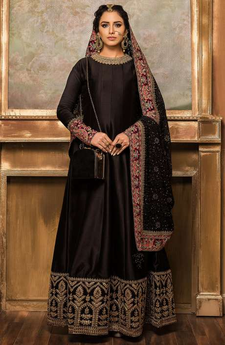 Designer Wedding Collection Semi-Stitched Silk Black Anarkali Gown - VAR9177A