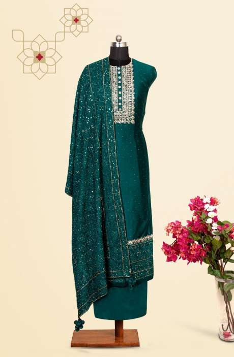 Silk Designer Salwar Kameez In Teal Blue with Beautiful Georgette Dupatta - VF-12B