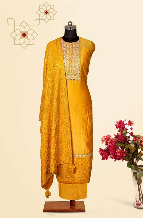 Silk Designer Salwar Kameez In Yellow with Beautiful Georgette Dupatta - VF-12C