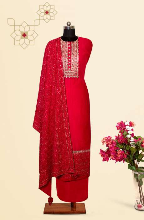 Silk Designer Salwar Kameez In Rani Pink with Beautiful Georgette Dupatta - VF-12E