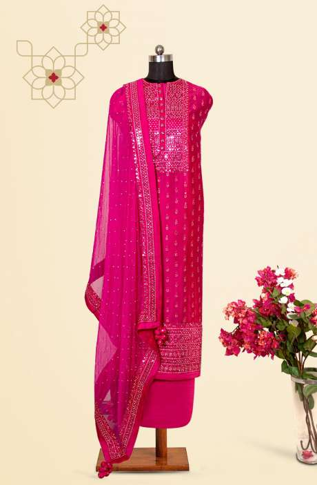 Chanderi Silk Designer Salwar Kameez In Rani Pink with Beautiful Chiffon Dupatta - VF-27BA