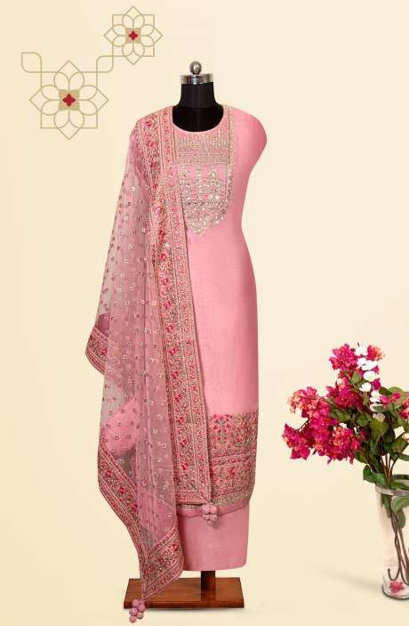 Silk Designer Salwar Kameez In Baby Pink with Beautiful Net Dupatta - VF-30A