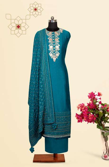 Silk Designer Salwar Kameez In Firozi with Beautiful Georgette Dupatta - VF-36AB