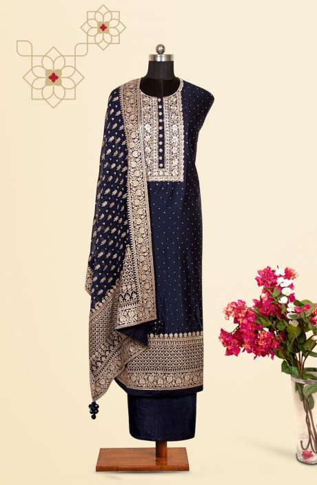 Silk Designer Salwar Kameez In Blue with Beautiful Chiffon Dupatta - VF-53