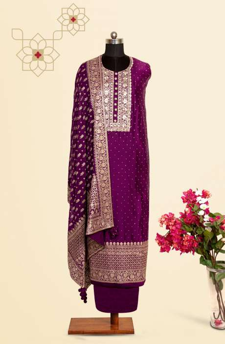 Silk Designer Salwar Kameez In Purple with Beautiful Chiffon Dupatta - VF-53A