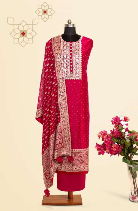 Silk Designer Salwar Kameez In Magenta with Beautiful Chiffon Dupatta - VF-53B
