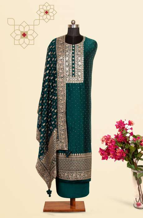 Silk Designer Salwar Kameez In Bottle Green with Beautiful Chiffon Dupatta - VF-53C