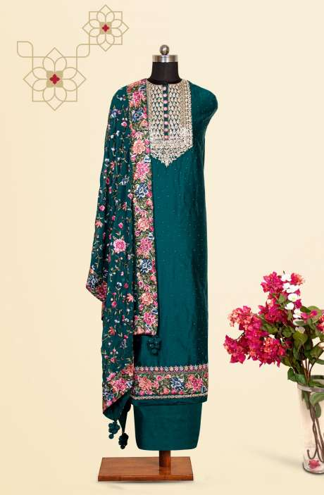 Silk Designer Salwar Kameez In Bottle Green with Beautiful Chiffon Dupatta - VF-55B