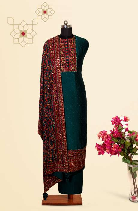 Silk Designer Salwar Kameez In Teal with Beautiful Georgette Dupatta - VF-79