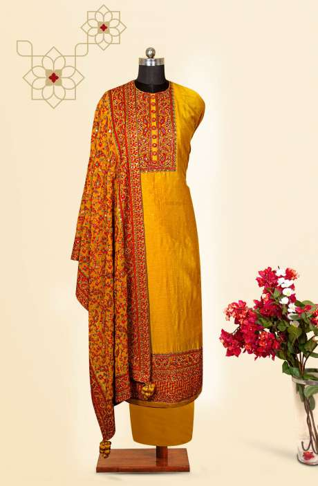 Silk Designer Salwar Kameez In Mustard with Beautiful Georgette Dupatta - VF-79A