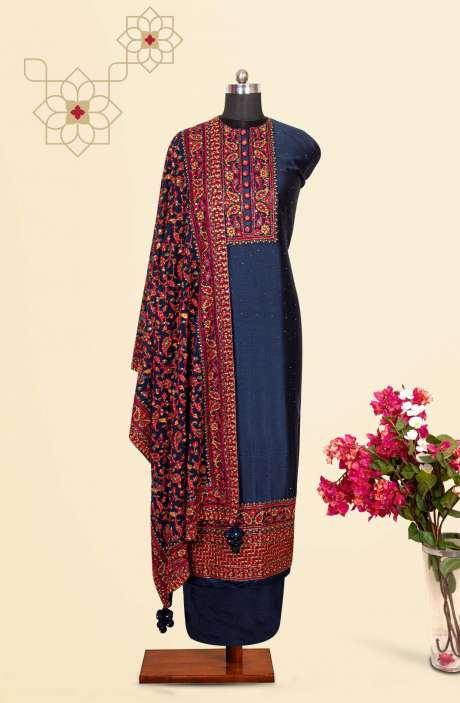 Silk Designer Salwar Kameez In Blue with Beautiful Georgette Dupatta - VF-79B