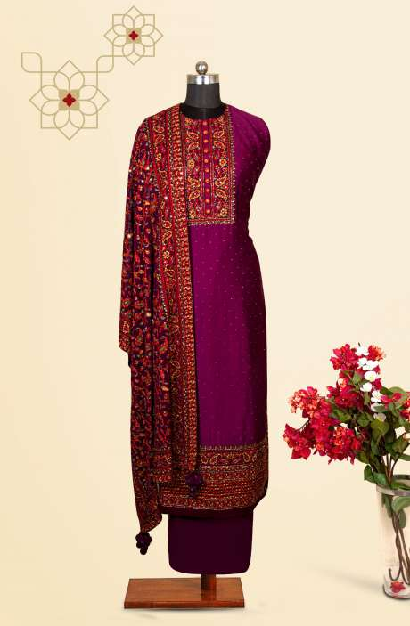 Silk Designer Salwar Kameez In Purple with Beautiful Georgette Dupatta - VF-79C