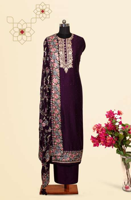 Silk Designer Salwar Kameez In Purple with Beautiful Georgette Dupatta - VF-84