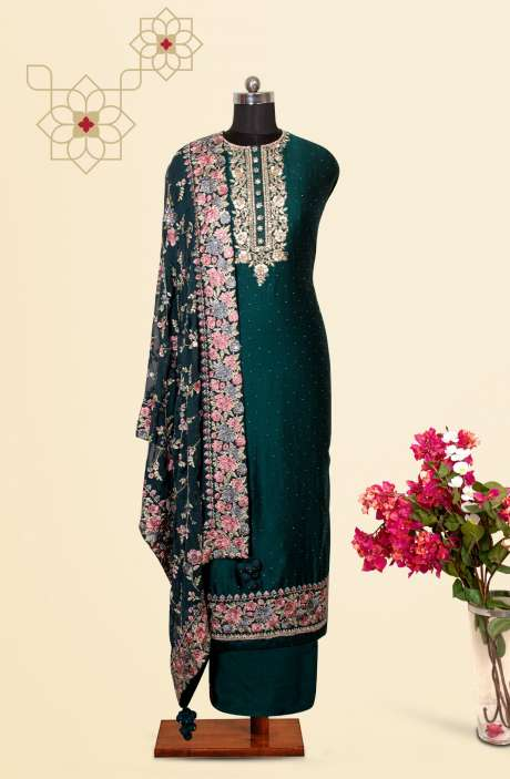 Silk Designer Salwar Kameez In Bottle Green with Beautiful Georgette Dupatta - VF-84A