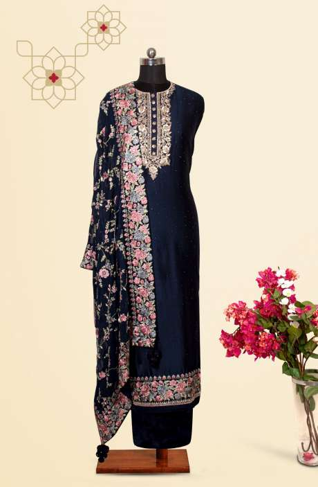 Silk Designer Salwar Kameez In Blue with Beautiful Georgette Dupatta - VF-84B