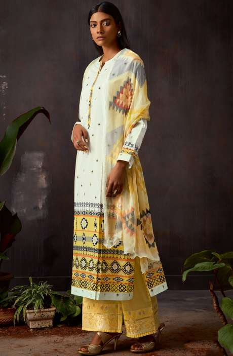 Cotton Digital Printed Kameez with Embroidery Salwar In Cream & Yellow - VIN318