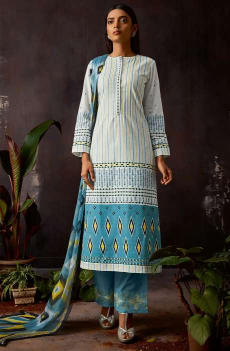 Cotton Digital Printed Kameez with Embroidery Salwar In White & Blue - VIN335