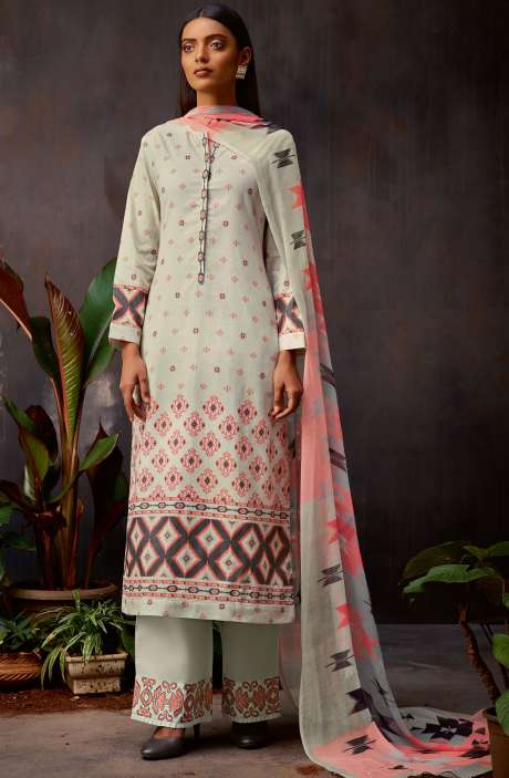 Cotton Digital Printed Kameez with Embroidery Salwar In Cream & Carrot Red - VIN345