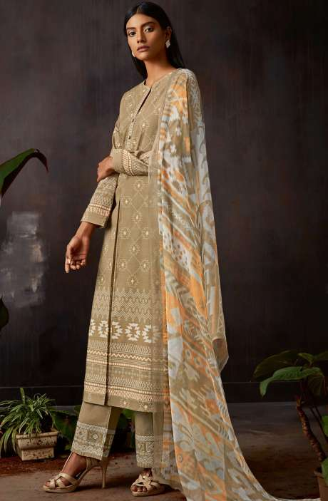 Cotton Digital Printed Kameez with Embroidery Salwar In Brown - VIN365