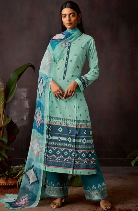 Cotton Digital Printed Kameez with Embroidery Salwar In Sea Green & Blue - VIN390