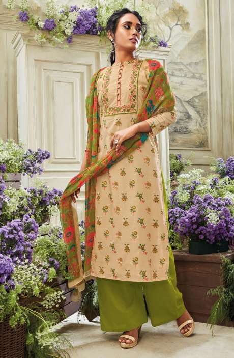 Floral Print with Embroidery Cotton Salwar Kameez Set In Beige - VIO5534