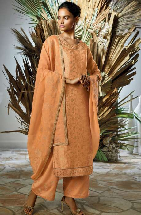 Silk Jacquard Zari & Sequins Work Salwar Suit Sets In Orange - VIO7806