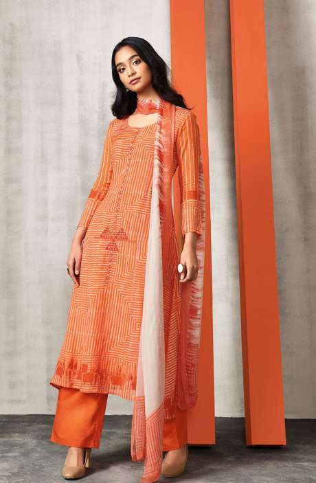 Digital Print Modal Cotton Salwar Kameez In Orange - VIV5801