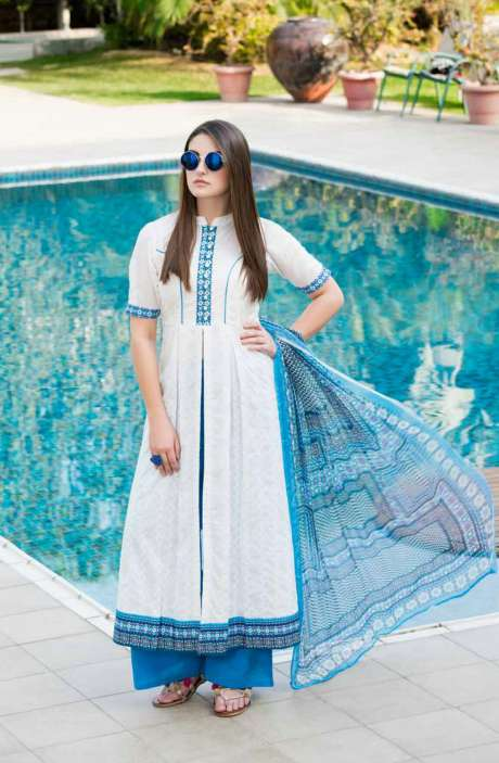 Machine Embroidery Cotton Summer Collection White Blue Suit Sets - WAA1963