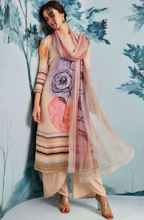 Crepe Digital Printed Multi & Cream Salwar Kameez with Swarovski Work - WAT7924