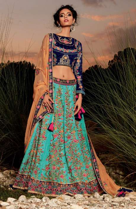 Exclusive Party Wear Blue and Green Machine Embroidery Embellished Lehenga - WHE4826