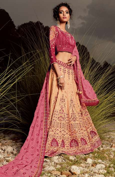 Exclusive Party Wear Pink and Cream Machine Embroidery Embellished Lehenga - WHE4827